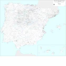 Mapa de España y Portugal con poblaciones