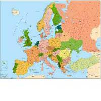 Mapa de Europa con Códigos Postales poster
