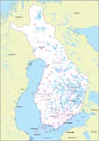 Map of Finland with regions and Postal Codes