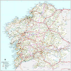 Galicia (Galizia) Spain autonomous community map