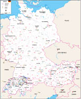 Map of Germany, austria and Switzerland with regions and Postal Codes