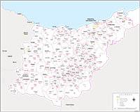 Gipuzkoa - mapa provincial con municipios y Códigos Postales