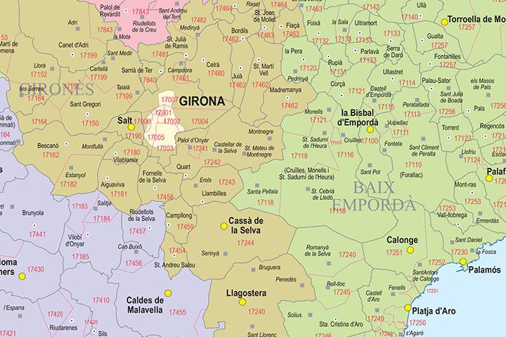 Girona - mapa provincial con municipios, comarcas y códigos postales