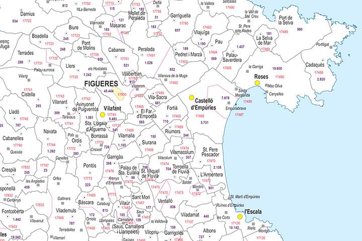 Girona - mapa provincial con municipios, códigos postales y habitantes