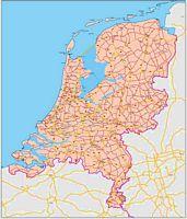 Mapa de Países Bajos (Holanda) con carreteras