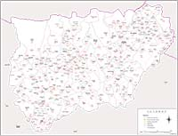 Map of Jaen province with municipalities and postal codes