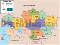 Map of Kazakhstan with regions and Postal Codes