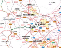 Map of Madrid province with municipalities, major roads and postal codes
