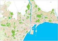 Malaga (Andalusia, Spain) - city map with postalcodes