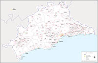 Andalusia - autonomous community map with municipalities and postal codes