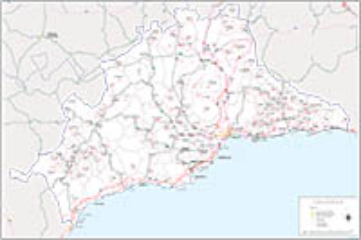 Málaga - mapa provincial con municipios, Códigos Postales y carreteras