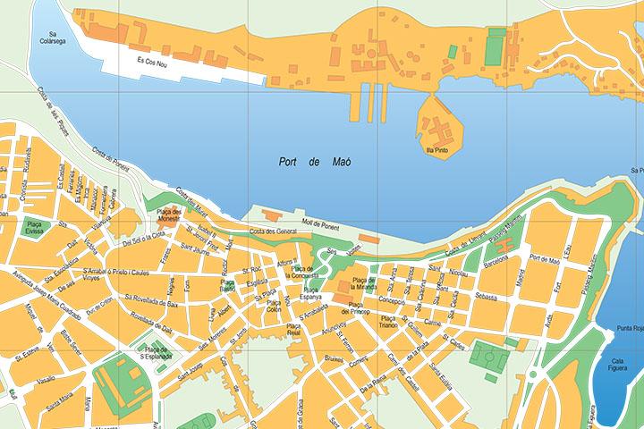 Maó (Mahon, Minorca, Balearic Islands, Spain) - city map