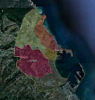 Melilla - mapa de la ciudad autónoma con los códigos postales.