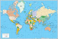 Poster Worldmap with Sea Ports and Airports