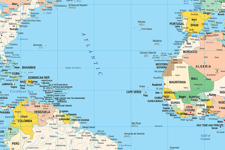 Political Poster World Map with Seaports