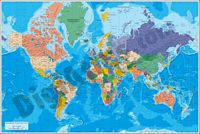 Physical-Political Poster World map
