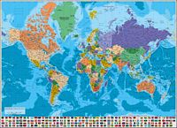 Physical-Political Poster Worldmap with flags