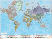 Mapamundi Poster Relieve-Político con banderas de paises