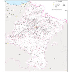 Map of Navarra autonomous community with municipalities and postal codes
