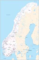 Map of Norway, Sweden, Finland and Denmark with regions and 2 digit postal