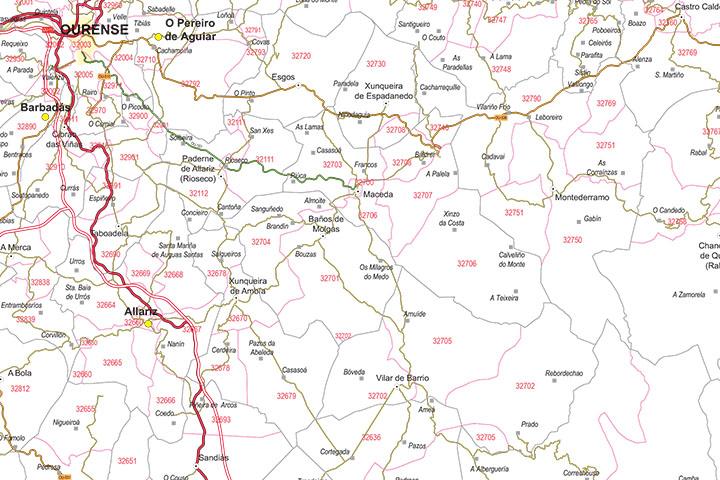 Ourense - mapa provincial con municipios, códigos Postales y carreteras