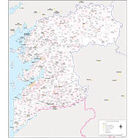 Map of Pontevedra province map with municipalities and postal codes
