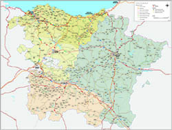Map of Basque Country, Navarra and La Rioja
