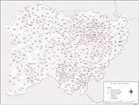 Salamanca- mapa provincial con municipios y Códigos Postales