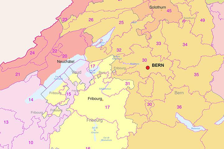 Suiza - Mapa de regiones y codigos postales