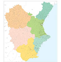 Valencian Community, Murcia, Cuenca and Albacete with municipalities.