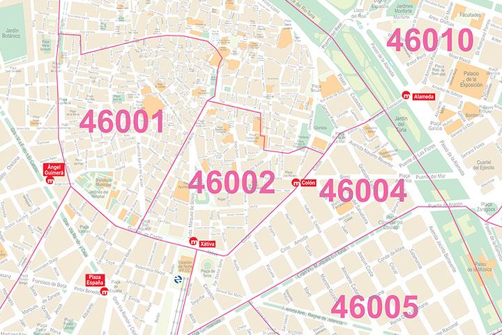 Valencia - Plano de la ciudad con distritos postales