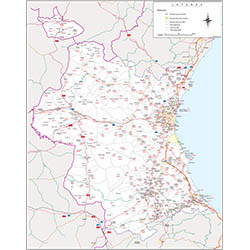Map of Valencia with municipalities, major roads and postal codes